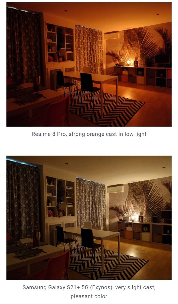مقایسه تصویر ثبت شده به وسیله ریلمی ٨ پرو (بالا) و گلکسی اس ٢١ پلاس نسخه اگزینوس (پایین)
