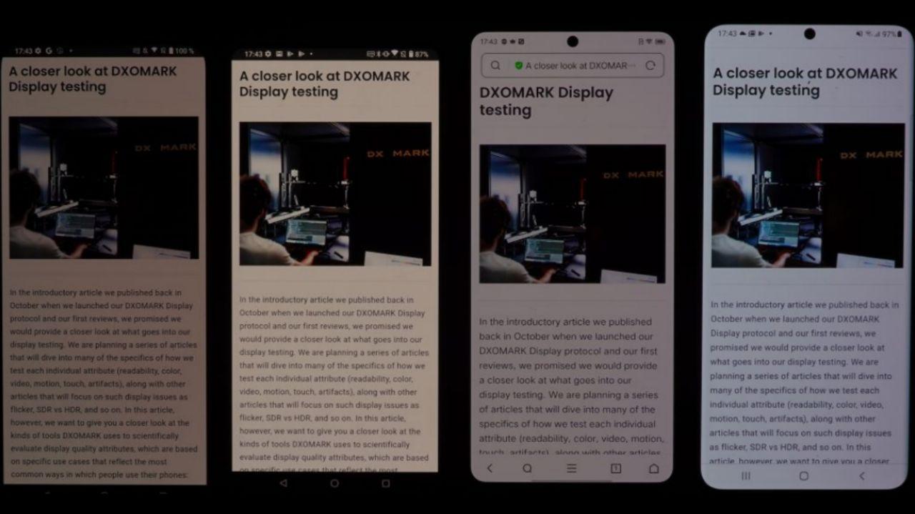 به ترتیب از سمت چپ: مقایسه تصویر نمایش داده شده بر روی ROG Phone 5 و ROG Phone 3 و آیکو ۷ لجند و گلکسی اس ٢١ اولترا نسخه اگزینوس