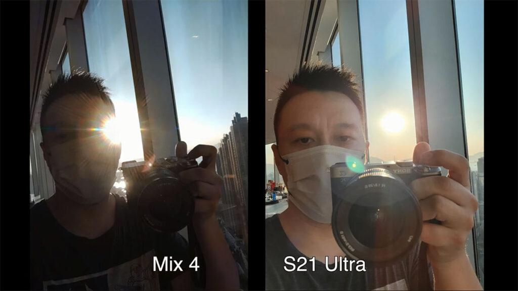 مقایسه دوربین سلفی زیرنمایشگر شیائومی می میکس ۴ با دوربین سلفی عادی گلکسی اس ۲۱ اولترا