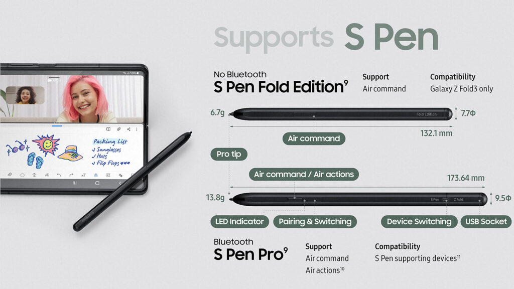 قلم های سازگار با Galaxy Z Fold 3