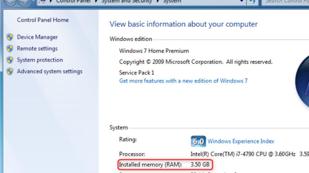 چک کردن میزان حافظه رم PC در ویندوز ٧