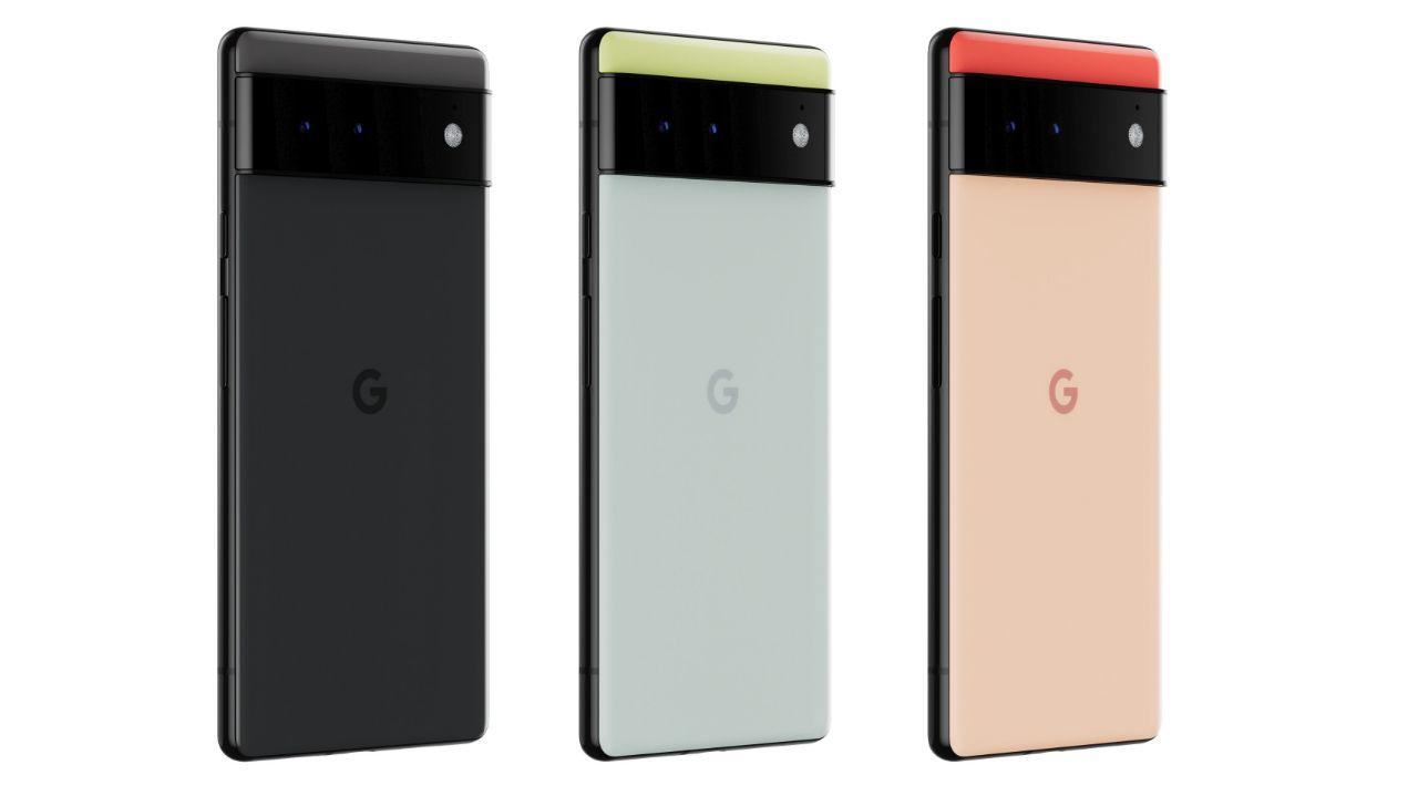 رندر رسمی پیکسل ۶ گوگل در سه رنگ