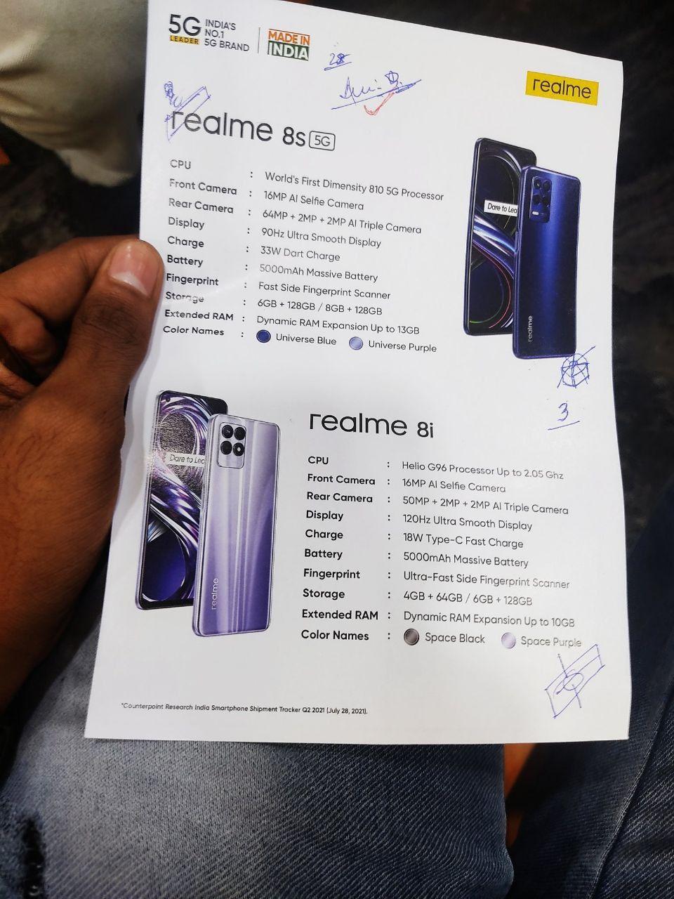 مشخصات فنی Realme 8s و Realme 8i